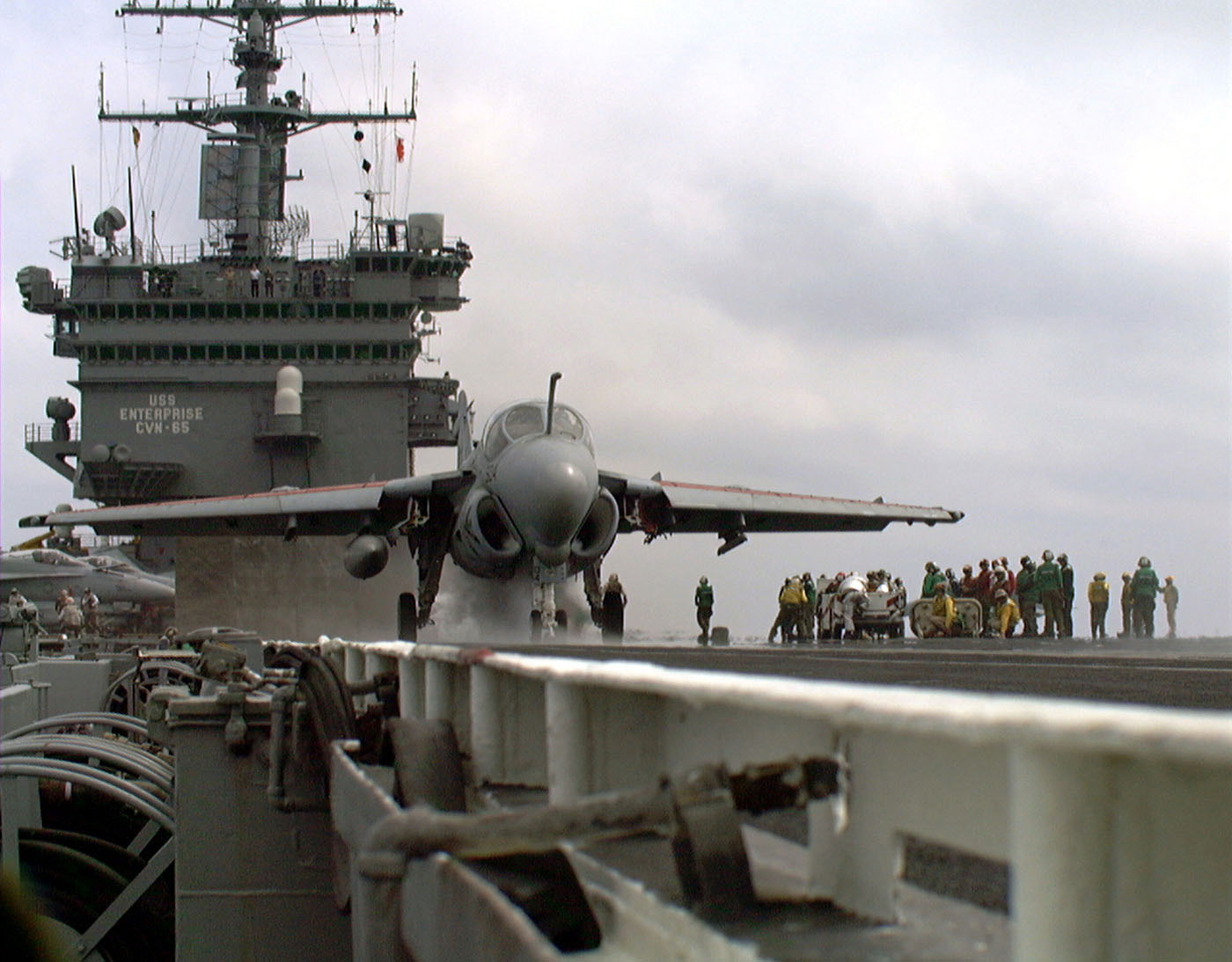A-6E Intruder - An A-6 Intruder aircraft assigned to the Sunday Punchers of Attack Squadron Seven Five (VS 75) makes ready for launch from the number one catapult, during carrier qualifications aboard the US Navy