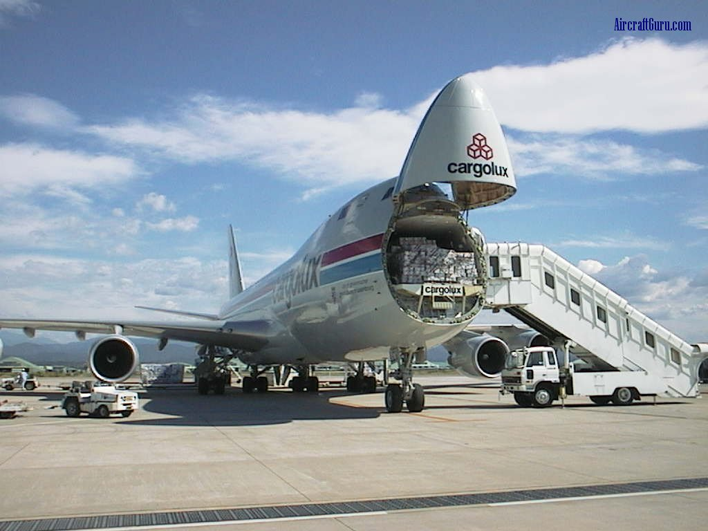 Boeing 747-400F - Cargolux Boeing 747-400F with the nose cone loading door open