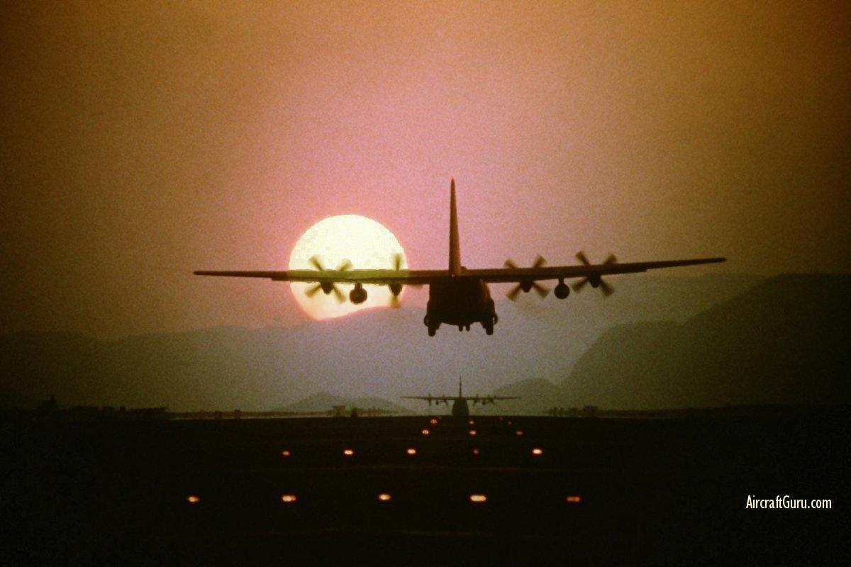 C-130 Hercules - The sun sets on a C-130 Hercules.