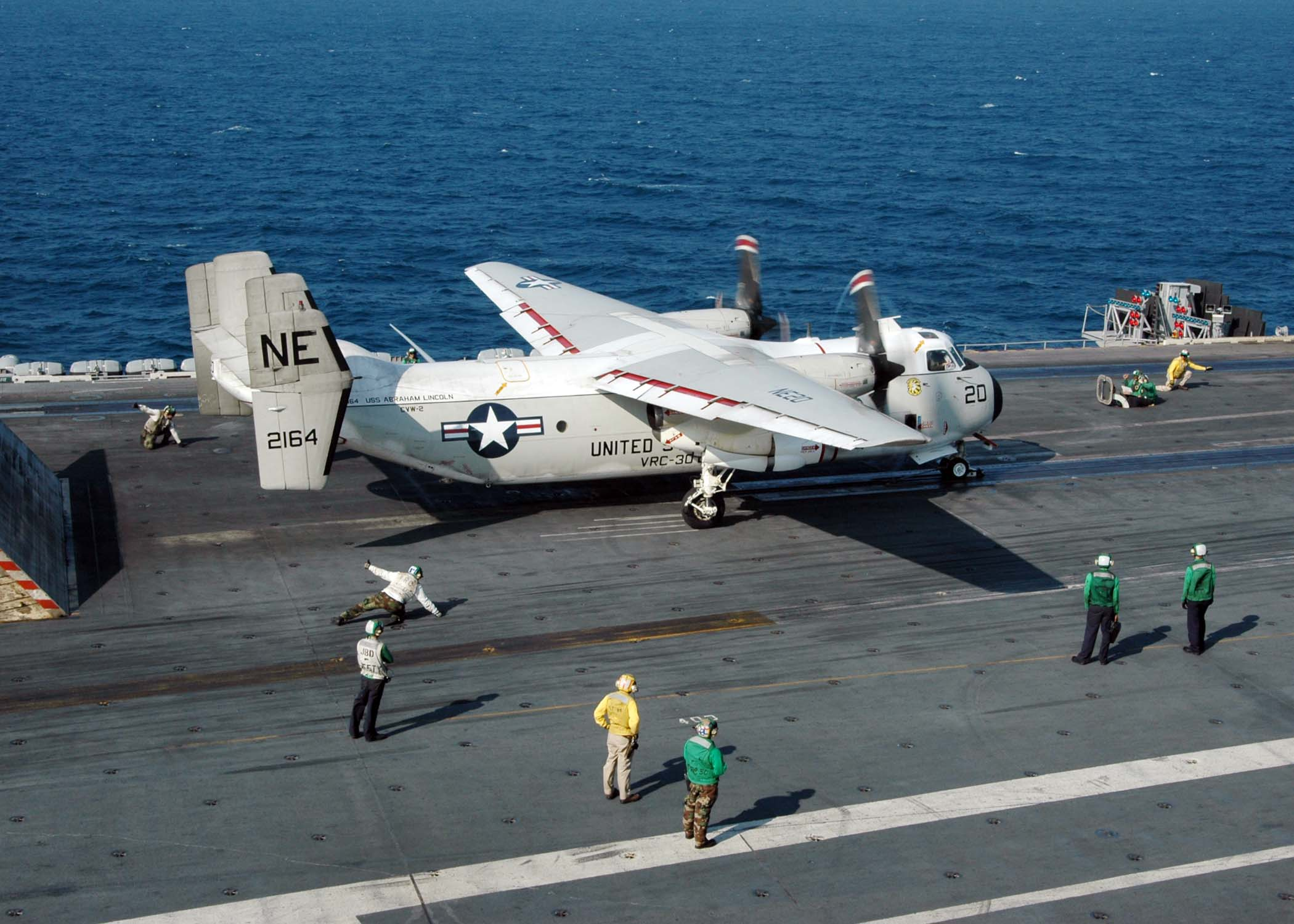 C-2A Greyhound - Indian Ocean (Jan. 20, 2005) - A C-2A Greyhound, assigned to the ?Providers? of Fleet Logistics Support Squadron Three Zero (VRC-30), prepares to launch off the flight deck aboard USS Abraham Lincoln (CVN 72). Aircraft assigned to Carrier Air Wing Two (CVW-2) and Sailors from the Abraham Lincoln are supporting Operation Unified Assistance, the humanitarian operation effort in the wake of the Tsunami that struck South East Asia. The Abraham Carrier Strike group is currently operating in the Indian Ocean off the waters of Indonesia and Thailand. U.S. Navy photo by Photographer