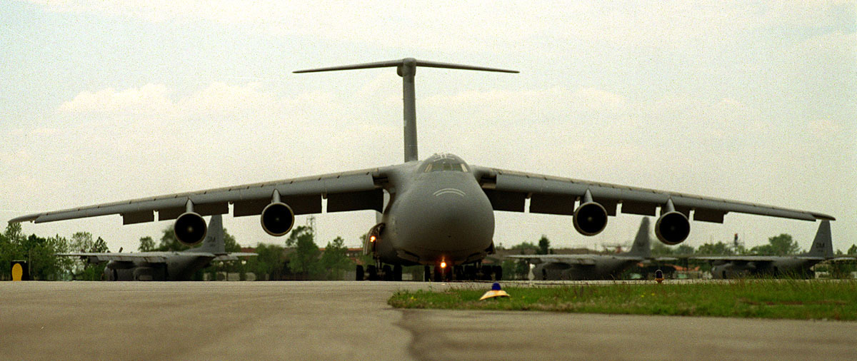 C-5 Galaxy - Front view of a C-5 Galaxy about to take off.