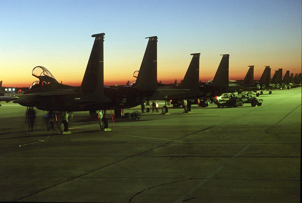 F-15 Eagle - A line of F-15 Eagles on the tarmac.