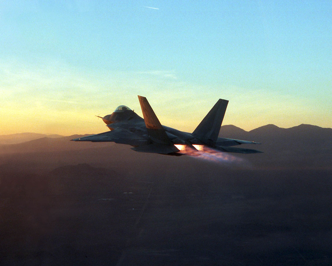 F-22A Raptor - F-22A Raptor firing its afterburners.