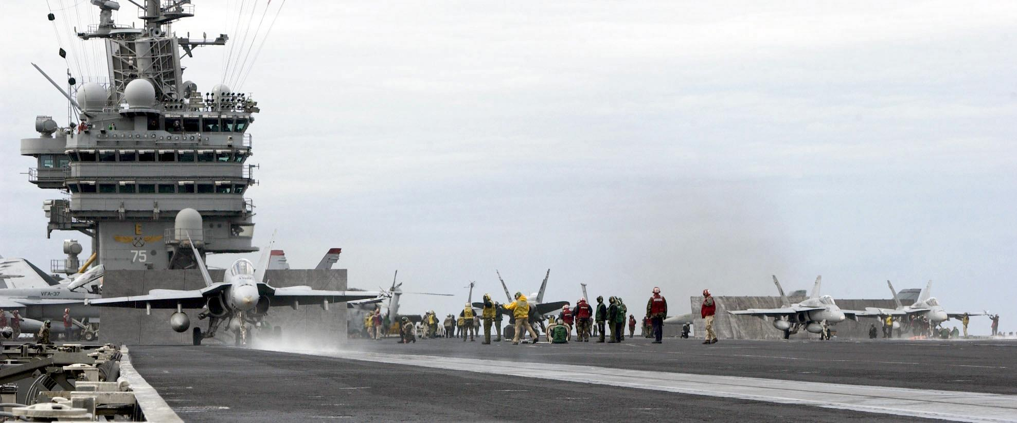 F/A-18 Hornet - F/A-18 Hornet getting ready for take-off from the USS Harry S Truman.  Other Hornets can be seen in the background.