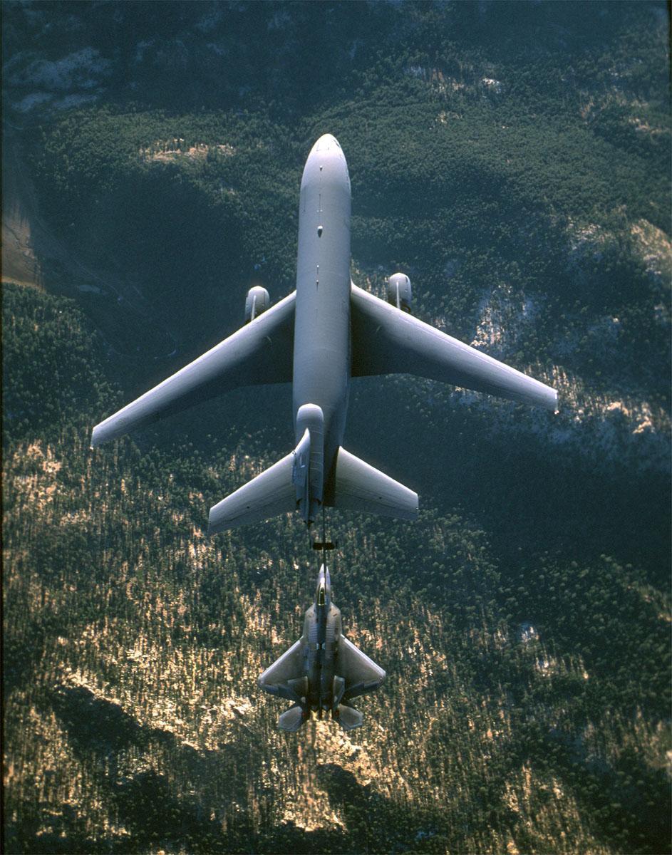 KC-10 Extender - KC-10 Extender refueling an F-22.  Picture taken from above.