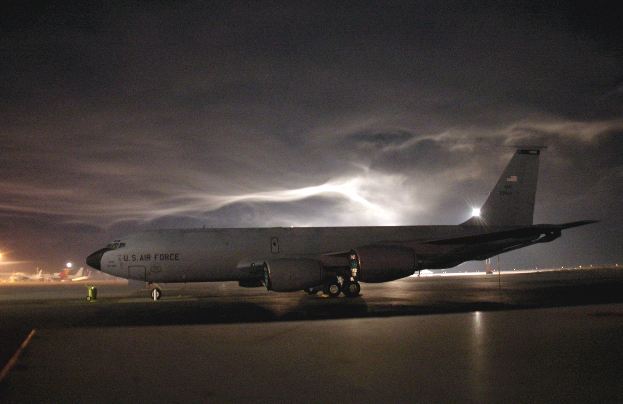 KC-135 Stratotanker - KC-135 Stratotanker on the tarmac at night.