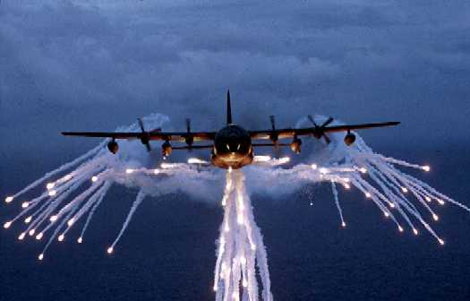 MC-130E/H Combat Talon - MC-130E/H Combat Talon shooting flares.  Forms nice angel pattern.