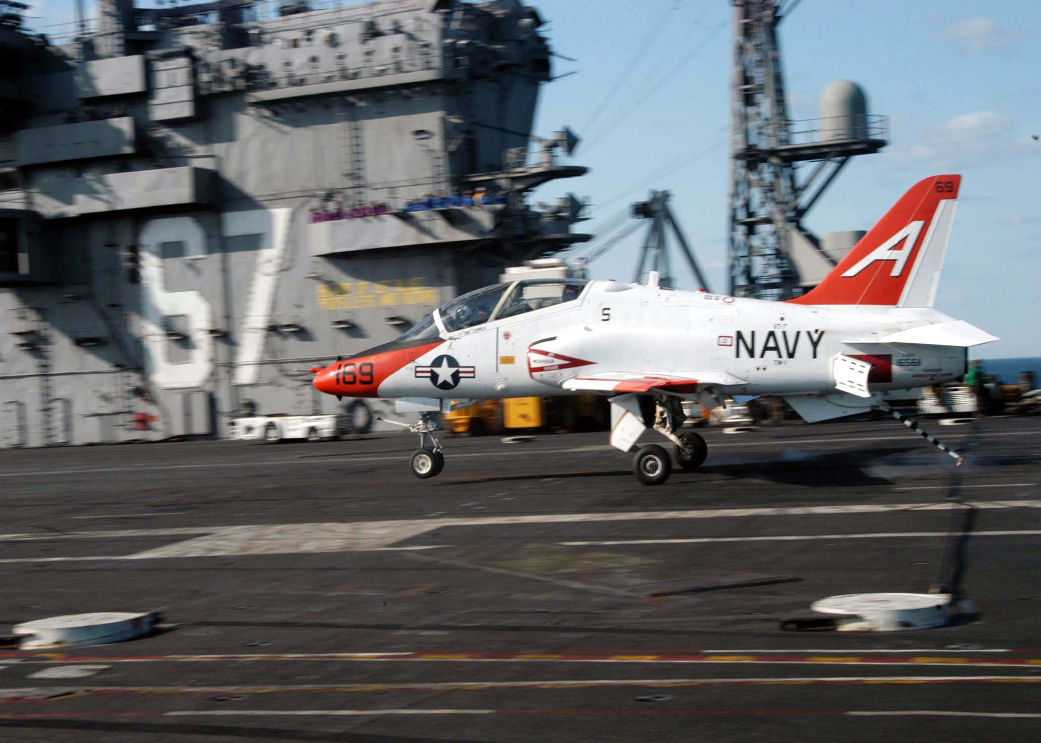 T-45C Goshawk - Atlantic Ocean (Apr. 17, 2004) - Lt.j.g. Julin Rosemand, assigned to Fixed Wing Training Squadron One (VT-1), completes a successful landing in a T-45C Goshawk aboard USS John F. Kennedy (CV-67). VT-1 is going through Carrier Qualifications (CQ) as Kennedy is completing her final training prior to a scheduled upcoming deployment. U.S. Navy photo by Photographer