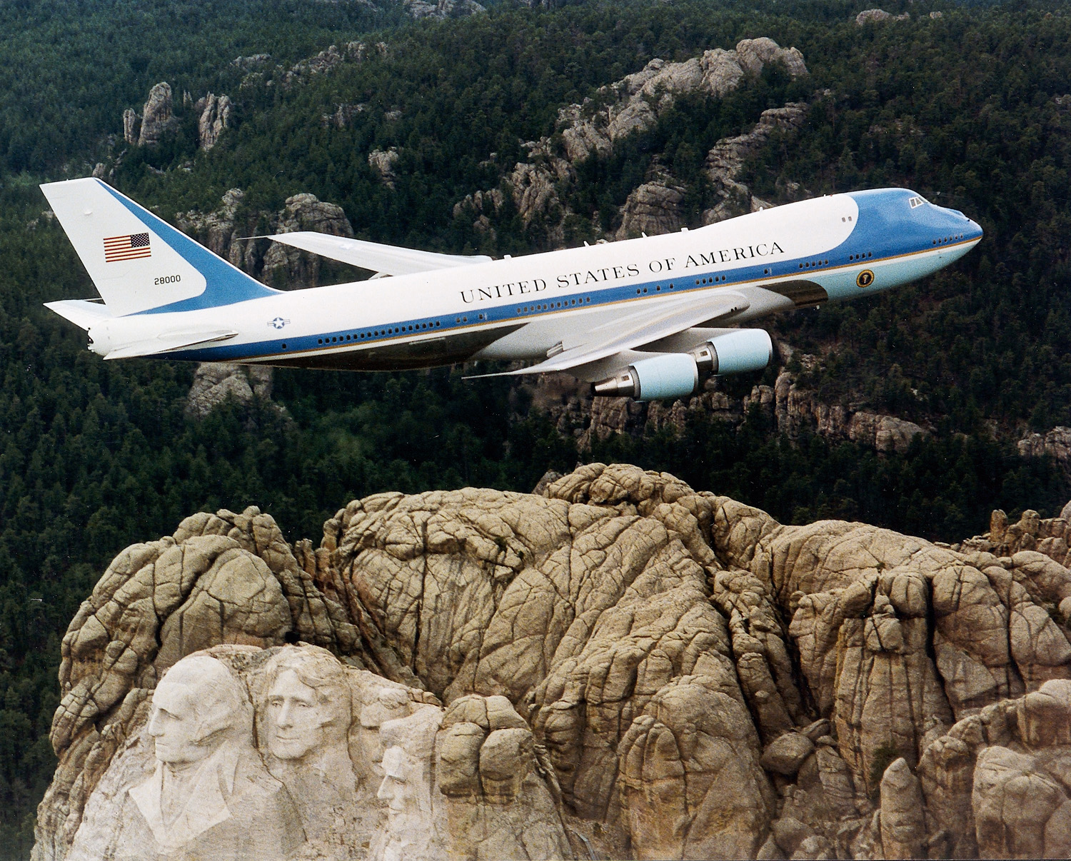 VC-25 Air Force One - VC-25 Air Force One flying over Mt. Rushmore.