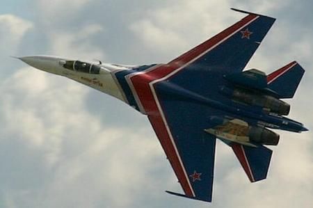 Sukhoi Su-27 - Sukhoi Su-27 at an aerobatics show.